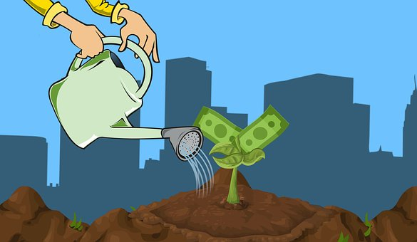 image of graphic with 2 hands holding watering can with water pouring on small money tree