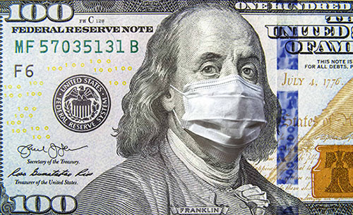 George Washington with Covid-19 face mask with money in background