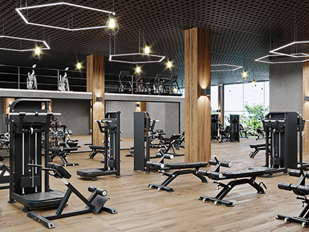 Modern gym with new equipment